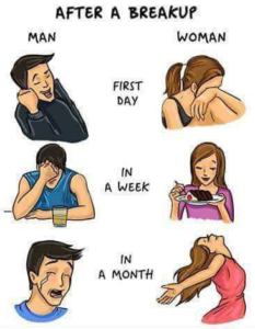 difference between a man and a woman after a breakup